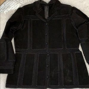 Size L Vintage New Crochet & Suede Jacket New